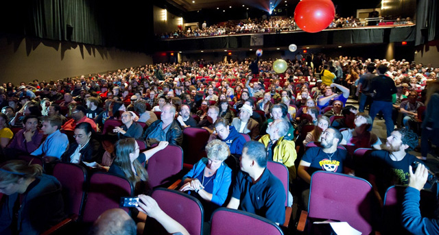 Ryerson Theatre is home to Premium Screenings and the Riotous Midnight Madness Crowd.